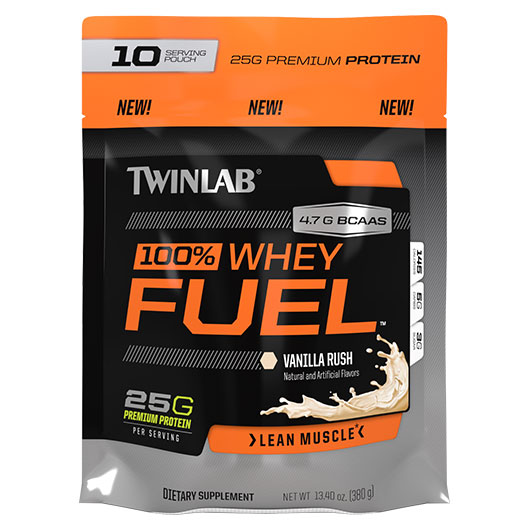 100% Whey Fuel, Zipper Pouch, Vanilla, 10 Servings, TwinLab