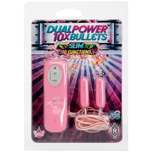 10X Dual Power Bullets Vibrator, Slim, Pink, Doc Johnson