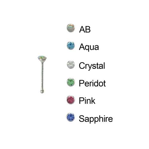 18 Gauge Sapphire Jeweled Nose Bone, Glow Industries