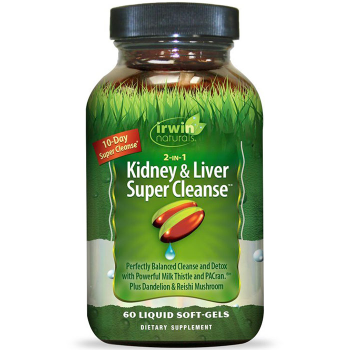 2-in-1 Kidney & Liver Super Cleanse, 60 Liquid Soft-Gels, Irwin Naturals