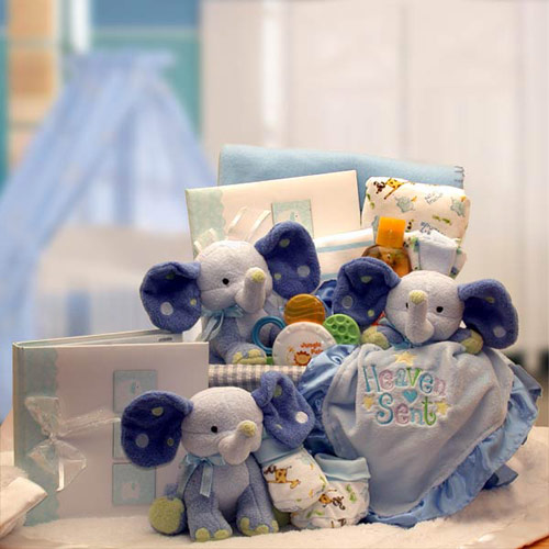 A Baby Is Heaven Sent Gift Basket, Blue, Elegant Gift Baskets Online