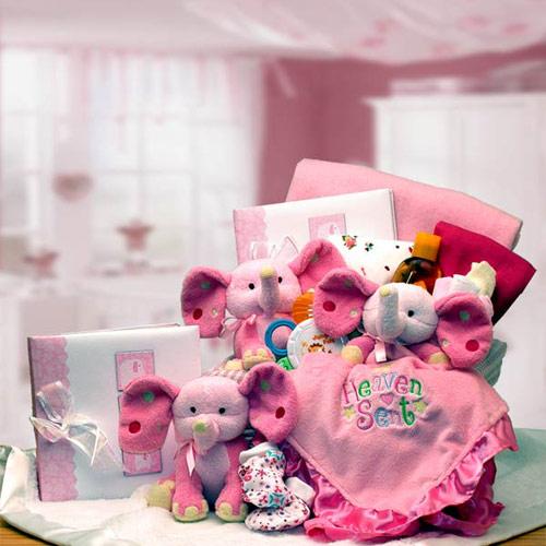 A Baby Is Heaven Sent Gift Basket, Pink, Elegant Gift Baskets Online
