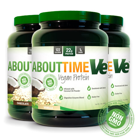 About Time All Natural Ve Vegan Protein Formula, Chocolate, 2 lb, SDC Nutrition