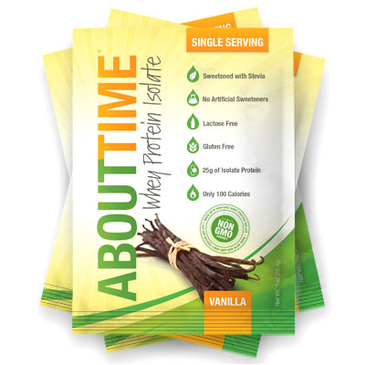 About Time All Natural Whey Protein Isolate, Vanilla, 1 oz x 12 pc, SDC Nutrition