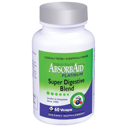 AbsorbAid Platinum, Super Digestive Blend, 60 Vcaps, Natures Sources