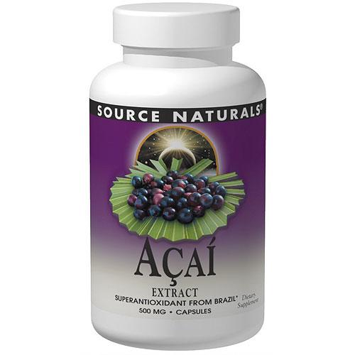 Acai Extract 500 mg Vegetarian, 60 Vegi Caps, Source Naturals