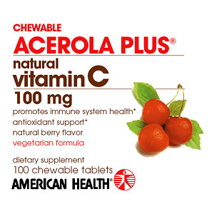 Acerola Plus Natural Vitamin C Chewable 100mg 100 tabs from American Health