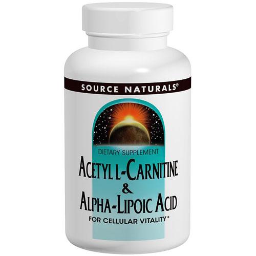 Acetyl L-Carnitine & Alpha-Lipoic Acid 650 mg, 180 Tablets, Source Naturals