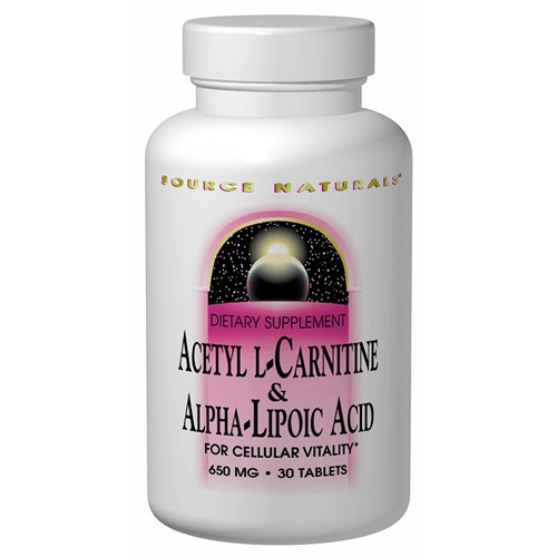 Acetyl L-Carnitine (ALC) & Alpha Lipoic Acid 500/150mg 30 tabs from Source Naturals