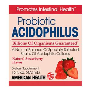 Acidophilus Liquid (Acidophilus Culture), Strawberry 16 oz from American Health