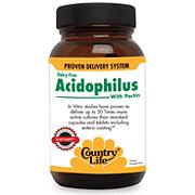 Natural Acidophilus w/Pectin 100 Vegicaps, Country Life