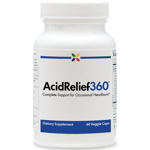 AcidRelief360 Formula, Complete Support for Occasional Heartburn, 60 Veggie Caps, Stop Aging Now