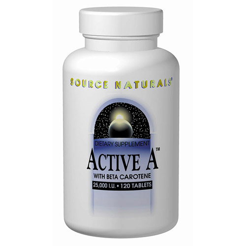Active A, Vitamin A with Beta Carotene 25,000 IU 60 tabs from Source Naturals