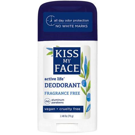 Active Life Stick Deodorant, Fragrance Free, 2.48 oz, Kiss My Face