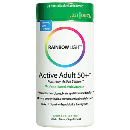 Active Adult 50+, Food-Based Multivitamin, Just Once Active Senior, 30 Tablets, Rainbow Light