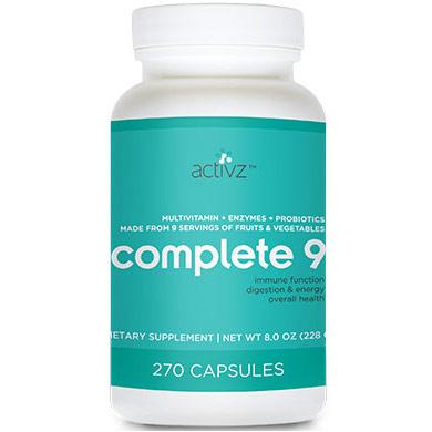 Activz Complete 9 (Multivitamin, Enzymes & Probiotics), 270 Capsules
