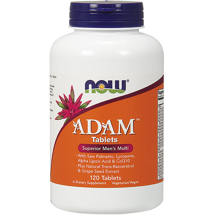 ADAM Superior Mens Multiple Vitamins, Male Multivitamin, 120 Tablets, NOW Foods