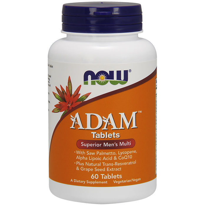 ADAM Mens Multiple Vitamin Tab, Superior Multi, 60 Tablets, NOW Foods