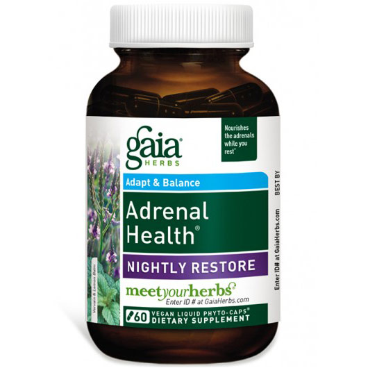 Adrenal Health Nightly Restore, 60 Vegan Liquid Phyto-Caps, Gaia Herbs