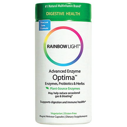 Advanced Enzyme Optima, Enzymes Probiotics Herbs, 90 Rapid Release Capsules, Rainbow Light