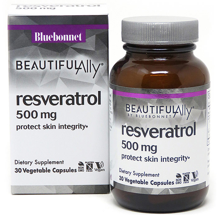 Age-Less Trans-Resveratrol 500 mg, 30 Vegetable Capsules, Bluebonnet Nutrition