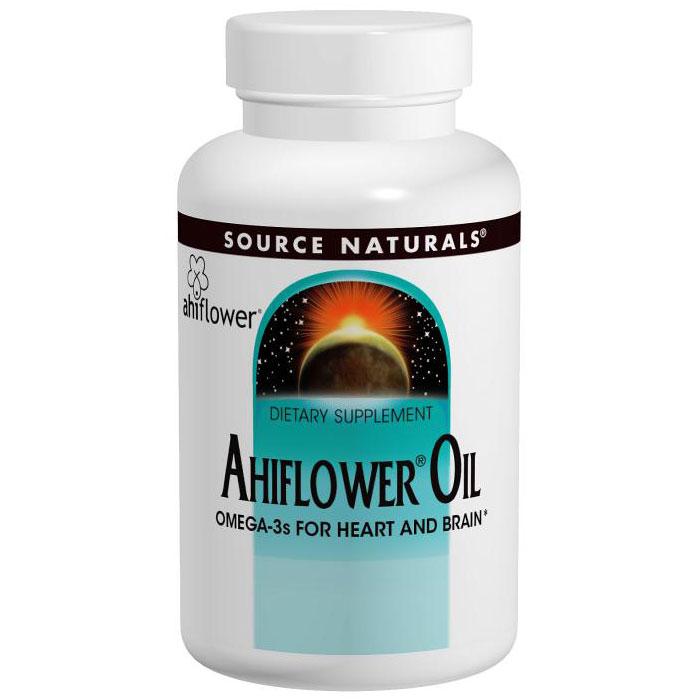 Ahiflower Oil, Omega-3s for Heart & Brain, 30 Vegetarian Softgels, Source Naturals
