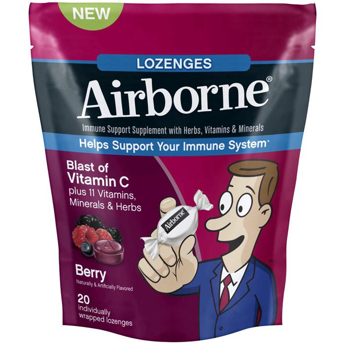 Airborne Lozenges - Berry, Immune Support Supplement, 20 Lozenges