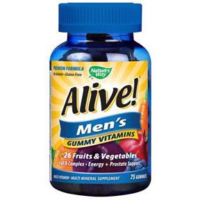 Alive! Men's Gummy Vitamins, Chewable Multi-Vitamins, 75 Chews, Nature's Way