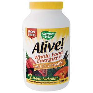 Alive! Multi Vitamins Whole Food Energizer (no iron) 180 tabs from Natures Way