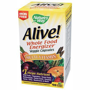 Alive! Multi Vitamins Whole Food Energizer (no iron) 90 vegicaps from Nature's Way