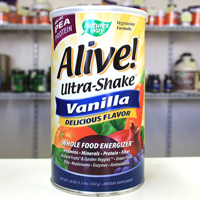 Alive! Ultra-Shake Pea Protein, Vanilla Shake, 1.3 lb, Natures Way