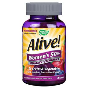 Alive! Women's 50+ Gummy Vitamins, Chewable Multi-Vitamins, 75 Chews, Nature's Way