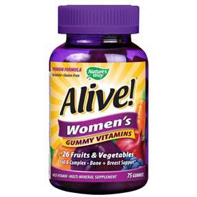 Alive! Women's Gummy Vitamins, Chewable Multi-Vitamins, 75 Chews, Nature's Way