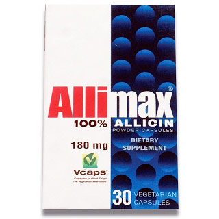 AlliMax Caps 180 mg, 100% Allicin, 30 Capsules, AlliMax Garlic Supplement