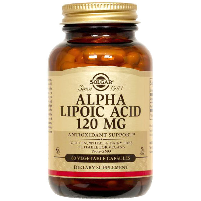 Alpha Lipoic Acid 120 mg, 60 Vegetable Capsules, Solgar
