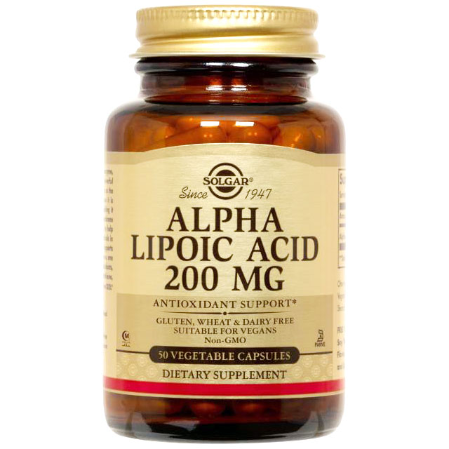 Alpha Lipoic Acid 200 mg, 50 Vegetable Capsules, Solgar