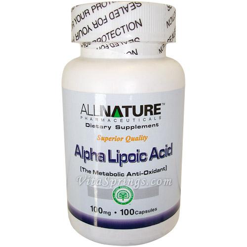 Alpha Lipoic Acid 100mg 100 Capsules, All Nature