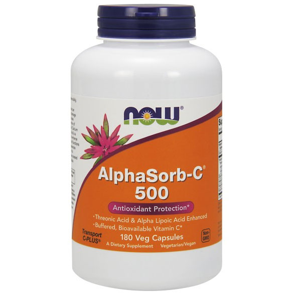AlphaSorb-C 500 mg, Buffered Bioavailable Vitamin C, 180 Vcaps, NOW Foods