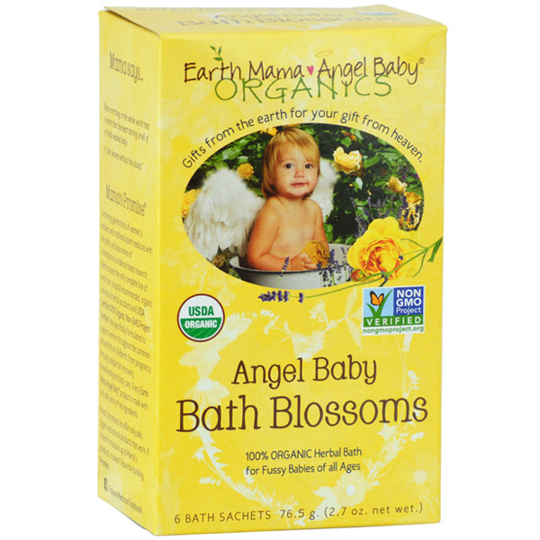 Organic Angel Baby Bath Blossoms, 6 Bath Sachets, Earth Mama Angel Baby