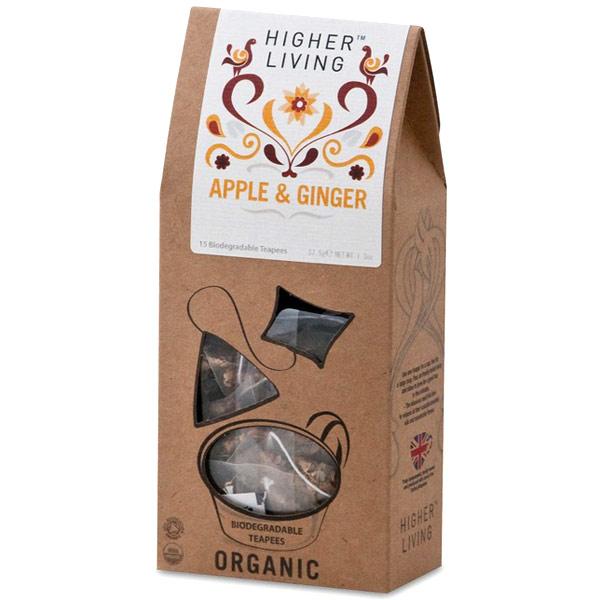Organic Apple & Ginger Tea, 15 Biodegradable Teapees, Higher Living