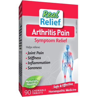 Real Relief Arthritis Pain Symptom Relief, 90 Chewable Tablets, Homeolab USA