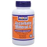 Ascorbate-C Minerals, Vitamin C 90 Tabs, NOW Foods