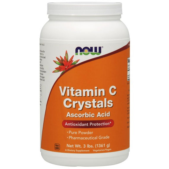 Vitamin C Crystals, Ascorbic Acid Powder Value Size, 3 lb, NOW Foods