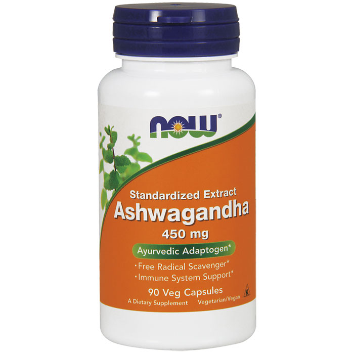 Ashwagandha 4.5% Extract 450mg 90 Vcaps, NOW Foods