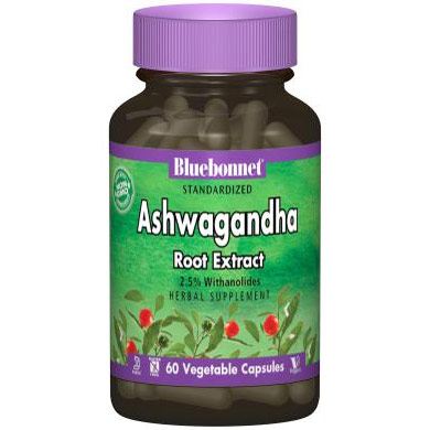 Standardized Ashwagandha Root Extract, 60 Vegetable Capsules, Bluebonnet Nutrition