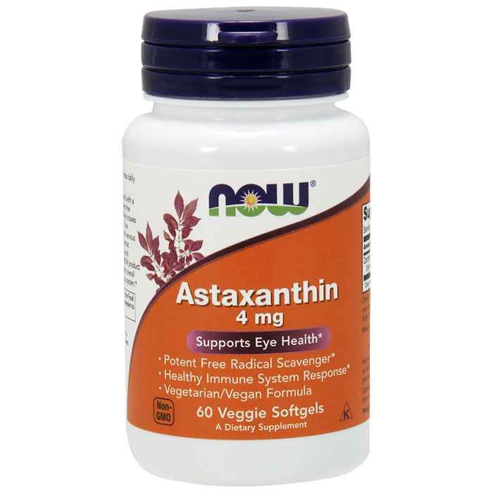 Astaxanthin 4 mg, 60 Veggie Softgels, NOW Foods