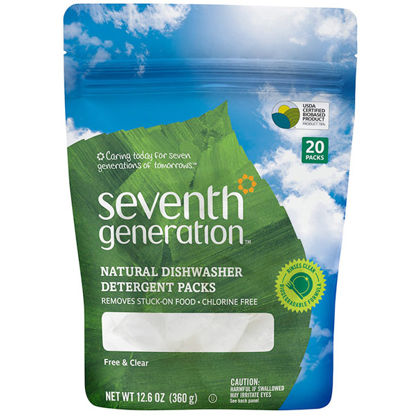 Auto Dish Packs, Natural Dishwasher Detergent Packs, Free & Clear, 20 Packs, Seventh Generation