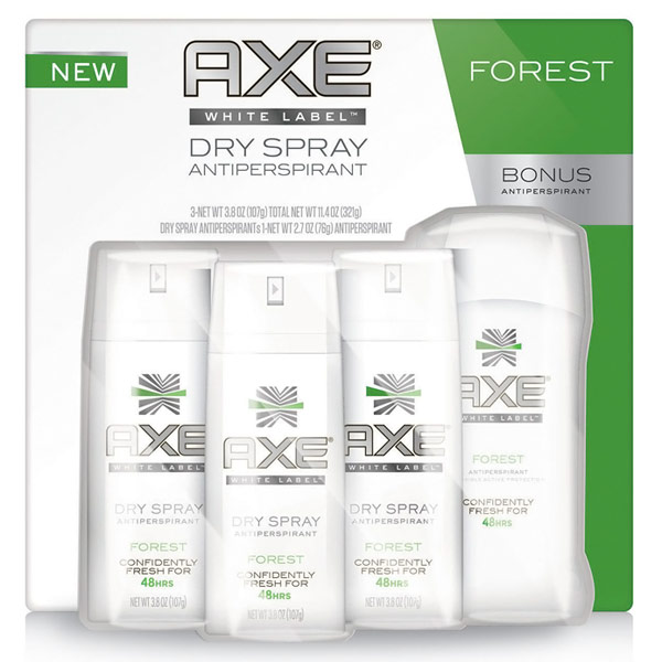 AXE White Label Dry Spray Antiperspirant with Bonus Deodorant Stick, 3/3.8 oz + 2.7 oz