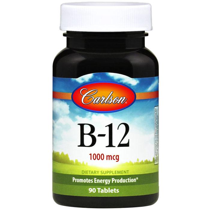 B-12 SL, Sublingual Vitamin B 12, 90 tablets, Carlson Labs