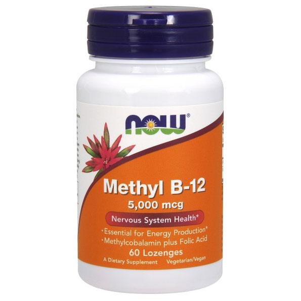 Methyl B-12 5000 mcg, Vitamin B12 with Folic Acid, 60 Lozenges, NOW Foods